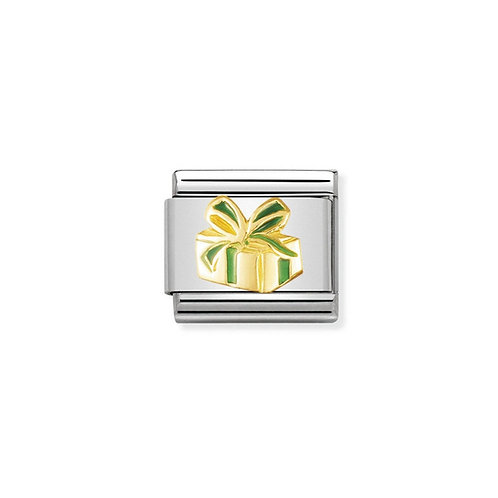 Nomination Gold and Green enamel Gift Charm Link - 030228/01