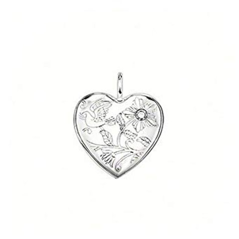Thomas Sabo Silver Flower Engraved Diamond Locket Pendant -SD_PE0020-153-14