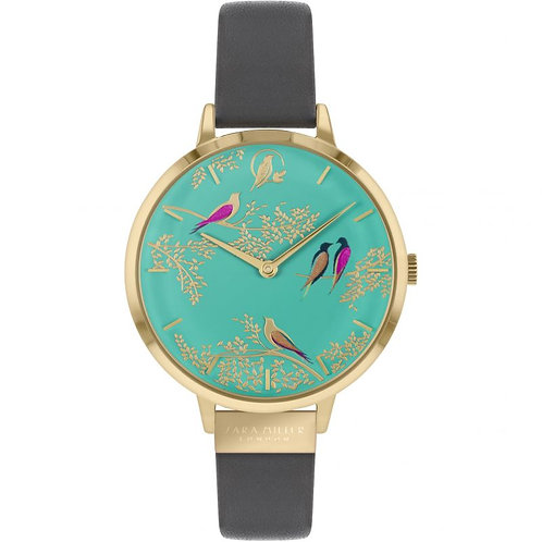 SARA MILLER - Green Birds Leather Strap Watch - SA2014