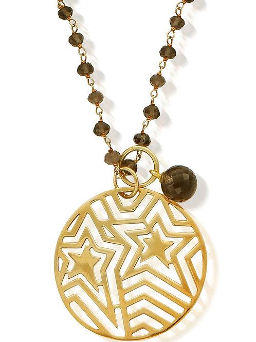 Chlobo Gold Plated Smoky Quartz Star Pendant Necklace - GGCROSA