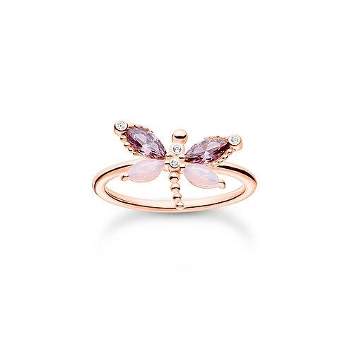 Thomas Sabo Rose Gold tone CZ Dragonfly Ring - TR2349-321-7-54