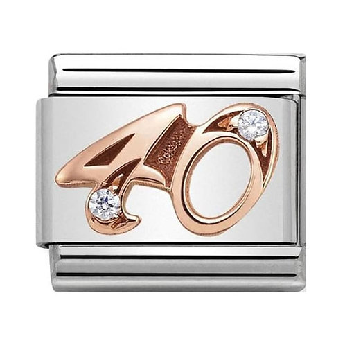 Nomination Rose Gold 40 Charm Link with Cubic Zirconias   - 430315/40