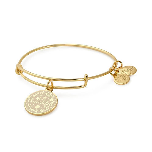 "Alex and Ani Rafaelian Shiny Gold ""Thankful"" Charm Bangle - A17EBWAP03SG"