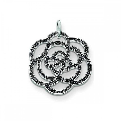 Thomas Sabo Large Flower with Black Zirconia's Disc Pendant