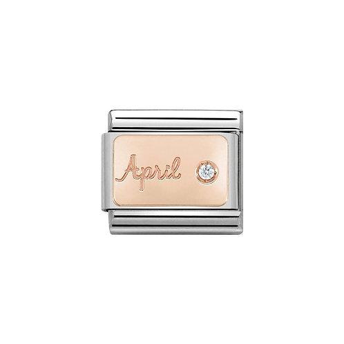 Nomination Rose Gold April Birthstone Charm Link - 430508/04