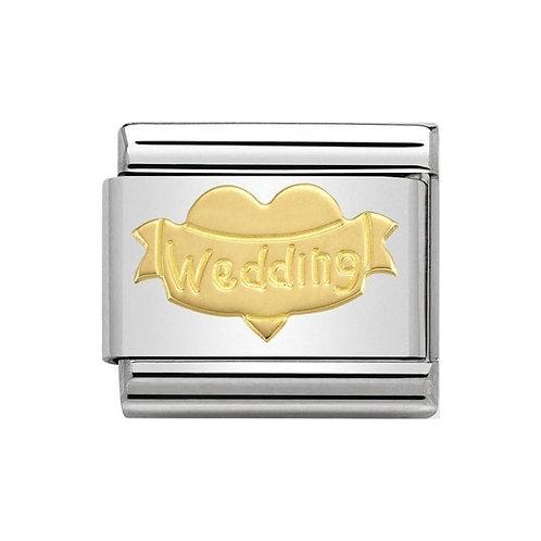 Nomination Gold Engraved Heart Wedding Charm Link - 030162/32