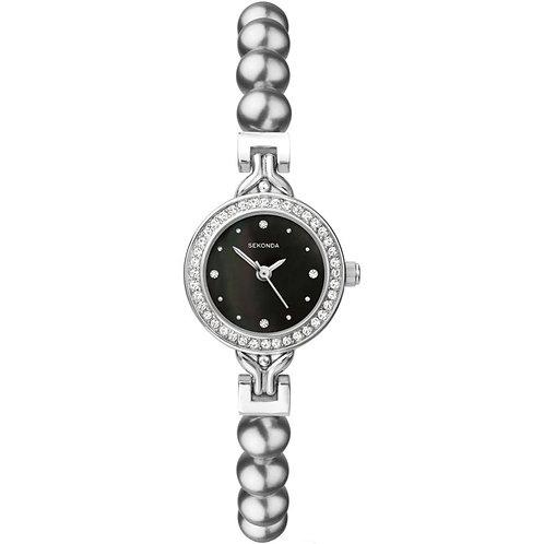 Sekonda Ladies Crystella Grey Pearl Black Face Watch - 4212
