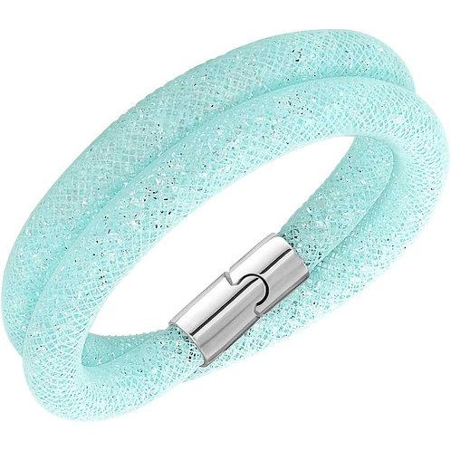 SWAROVSKI Light Aqua Blue Double Stardust Bracelet - 5139746 SMALL