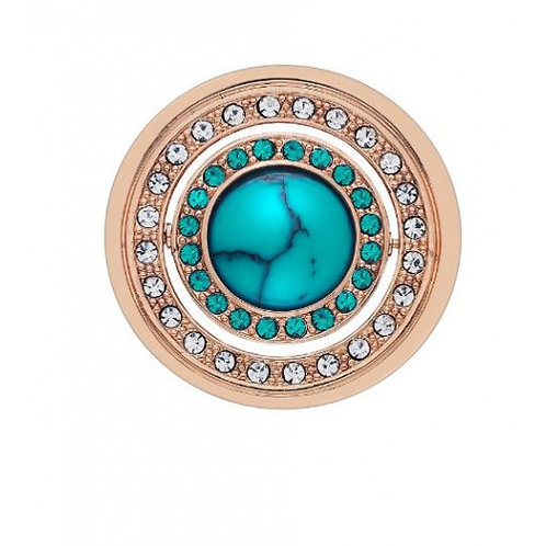 Hot Diamonds Innocence and Healing Quattro Clear and Turquoise CZ Coin