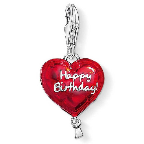 Thomas Sabo Silver and Red Happy Birthday Charm -1286-007-10