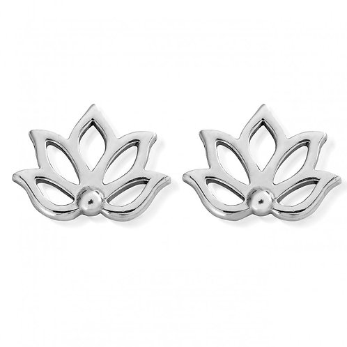 ChloBo Silver Lotus Stud Earrings