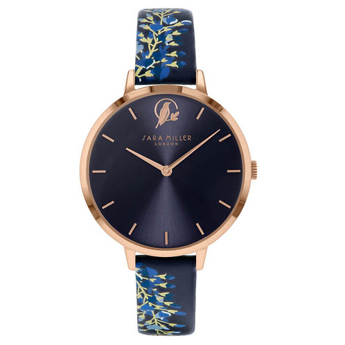 SARA MILLER - Blue Wisteria Leather Strap Watch - SA2050