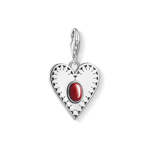 Thomas Sabo Silver Love Heart Red Stone Charm - 1683-111-10