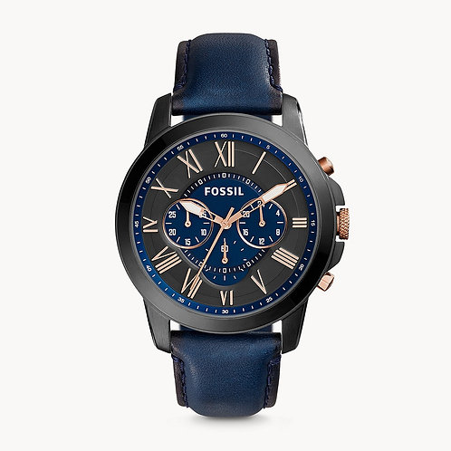 FOSSIL Grant Chronograph Blue Leather Strap Watch - FS5061