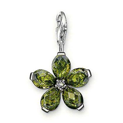 Thomas Sabo Silver Green CZ Flower Charm - 0712-021-6
