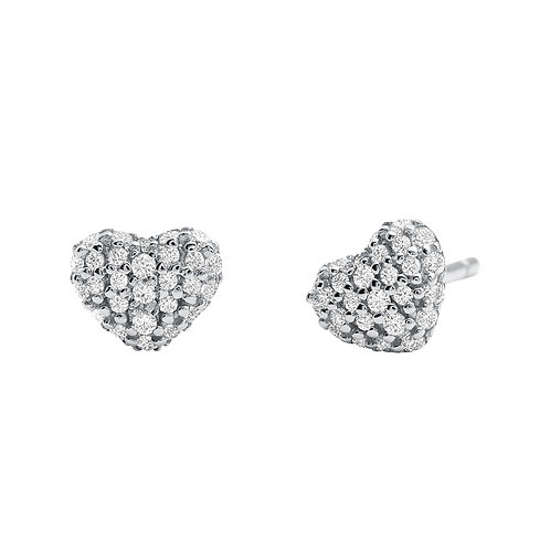 Michael Kors Sterling Silver Pave Heart Earrings - MKC1119AN040