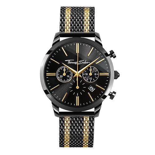 Thomas Sabo Men's Rebel Spirit Gold Bico Black Mesh Strap Watch - WA0288
