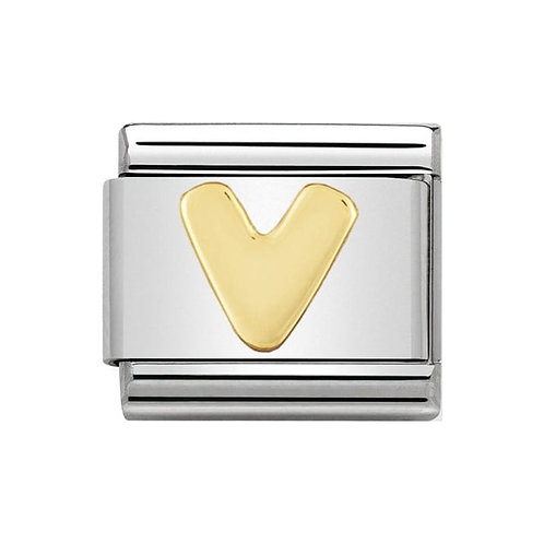 Nomination Gold Initial V Charm Link -030101/22