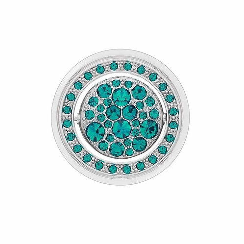 Hot Diamonds Purity and Healing Quattro Clear and Turquoise CZ Coin