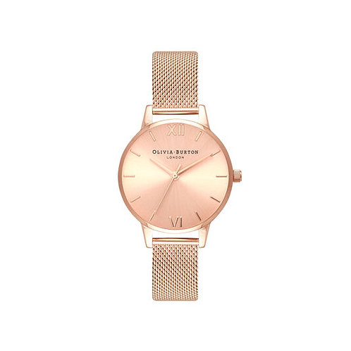 Olivia Burton Sunray Dial Rose Gold Mesh Strap Watch - OB16MD84
