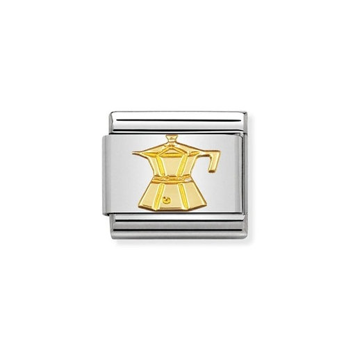 Nomination Gold Coffee Pot Cafetiere Charm Link - 030109/06