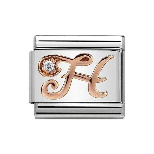 Nomination Rose Gold H Letter Charm Link  - 430310/08
