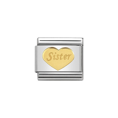 Nomination Gold Sister Love Heart Charm Link  - 030162/36