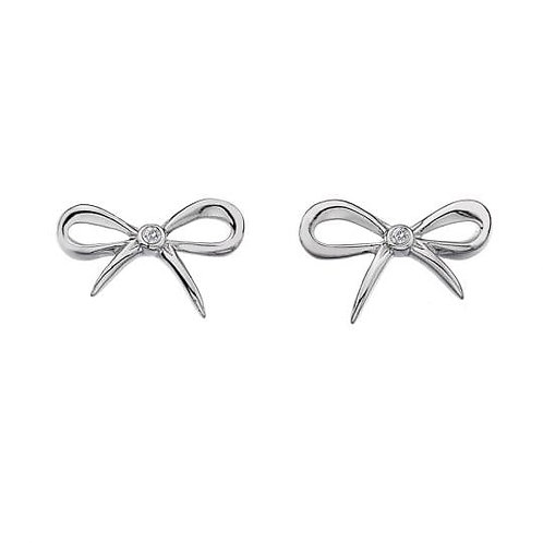 Hot Diamonds Sterling Silver Flourish Bow Earrings