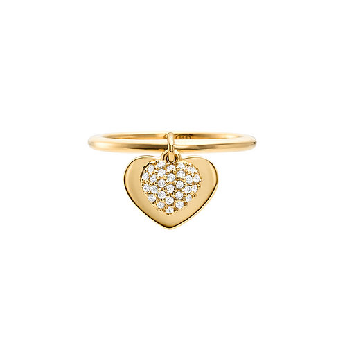 Michael Kors Sterling Silver Yellow Gold Duo Heart Ring