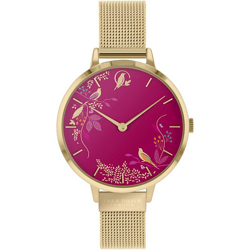SARA MILLER - Pink Birds Gold Mesh Strap Watch - SA4010