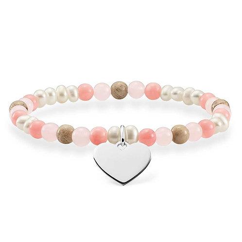 Thomas Sabo Love Bridge mixed Pink Quartz and Pearl Bracelet - LBA0111-053-7