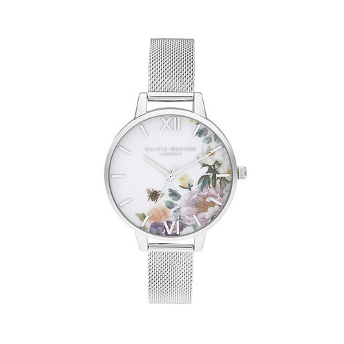 Olivia Burton Enchanted Garden Flower Dial Silver Bracelet Watch - OB16EG136