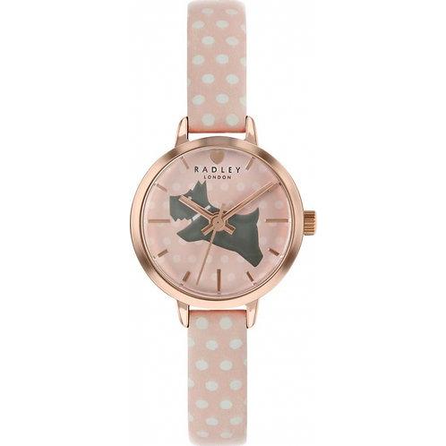 RADLEY Ladies Spotty Dog Pink Leather Strap Watch - RY2738S