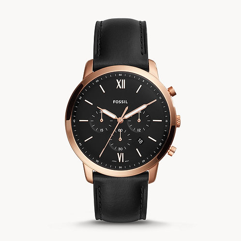 FOSSIL Rose Gold Neutra Chronograph Black Leather Strap Watch - FS5381