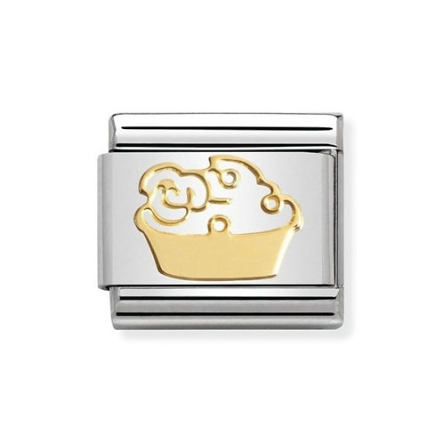 Nomination Gold Muffin Cake and Flower Charm Link - 030162/03