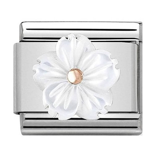 Nomination Rose Gold Mother of Pearl Flower Charm Link - 430510/02