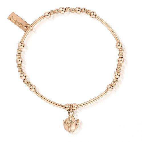 ChloBo Silver Rose Gold Lotus Flower Bracelet - RBMN455