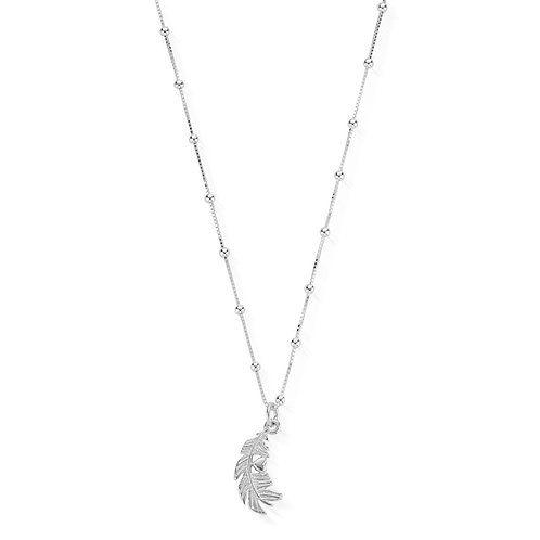 ChloBo Sterling Silver Bobble Chain Feather Heart Necklace - SN3185