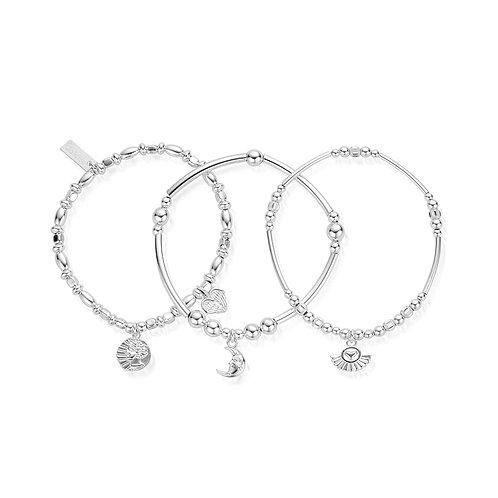 ChloBo Ariella Silver Goddess Stack of 3 Bracelets - SBSTA3A