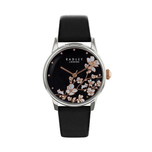 RADLEY Ladies Linear Flower Black Leather Strap Watch - RY2687