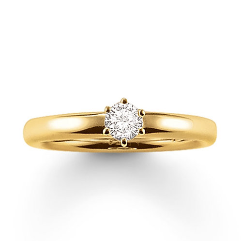 Thomas Sabo Silver CZ Solitaire Yellow Gold Ring - TR1982-414-14