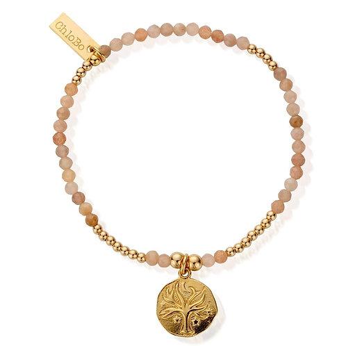 ChloBo Sterling Silver Gold and Peach Moonstone Tree Bracelet - GBPM761