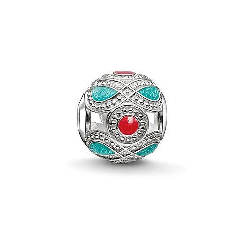 Thomas Sabo Karma Red and Turquoise Ethnic Charm -K0210-664-7
