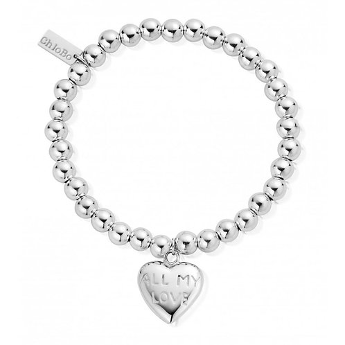 ChloBo Small Ball ALL MY LOVE Love Heart Bracelet - SBSB211