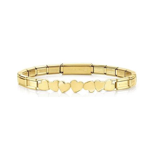 Nomination Trendsetter Love Hearts Symbol Yellow Gold Bracelet 021111/001
