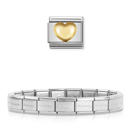 Nomination 18 Link Bracelet with a Gold Raised Heart Charm Link  - 003001-6