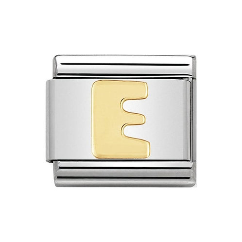 Nomination Gold Initial E Charm Link -030101/05