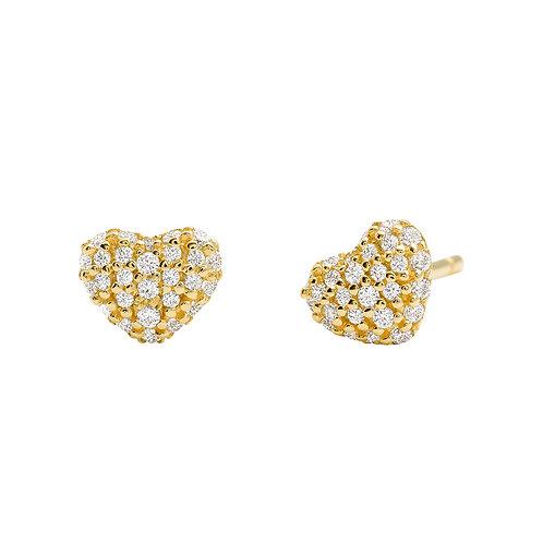 Michael Kors Yellow Gold Pave Heart Earrings - MKC1119AN710