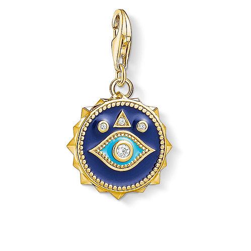 Thomas Sabo Yellow Gold Tone Blue Nasa Eye Charm - 1663-565-32