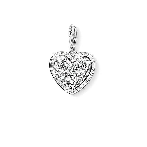 Thomas Sabo Silver Heart Roses Charm - 1315-051-14